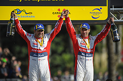 October 28, 2018 - Barcelona, Catalonia, Spain - The French driver, Sebastien Loeb and his co-driver Daniel Elea of Citren Total Abu Dhabi WRT, celebrating his victory at podium ceremony during the last day of WRC Rally Racc Catalunya, on October 28, 2018 in Salou, Spain. (Credit Image: © Joan Cros/NurPhoto via ZUMA Press)