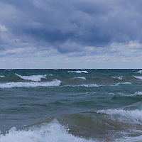 """""""Just a Rollin In""""<br /> <br /> Beautiful hues of blue on Lake Michigan as the waves roll in during a storm!"""