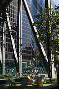 As heatwave temperatures climb to record levels - the hottest day of the year so far - Londoners in the City of London the capitals financial district aka the Square Mile enjoy sunshine in Leadenhall, on 25th July 2019, in London, England.