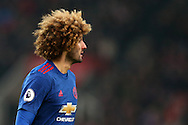 Marouane Fellaini of Man Utd looks on. Premier league match, Stoke City v Manchester Utd at the Bet365 Stadium in Stoke on Trent, Staffs on Saturday 21st January 2017.<br /> pic by Andrew Orchard, Andrew Orchard sports photography.