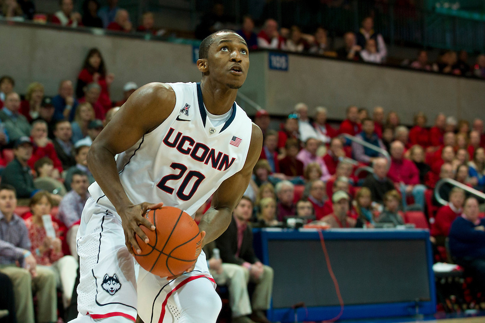 DALLAS, TX - JANUARY 4: Lasan Kromah #20 of the Connecticut Huskies drives to the basket against the SMU Mustangs on January 4, 2014 at Moody Coliseum in Dallas, Texas.  (Photo by Cooper Neill) *** Local Caption *** Lasan Kromah
