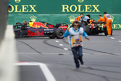 April 29, 2018 - Baku, Azerbaijan - VERSTAPPEN Max (ned), Aston Martin Red Bull Tag Heuer RB14, after his crash with RICCIARDO Daniel (aus), Aston Martin Red Bull Tag Heuer RB14, during the 2018 Formula One World Championship, Grand Prix of Europe in Azerbaijan from April 26 to 29 in Baku - : World Championship; 2018; Grand Prix Azerbaijan, Grand Prix of Europe, Formula 1 2018  (Credit Image: © Hoch Zwei via ZUMA Wire)
