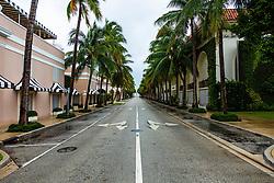 September 2, 2019, Florida, USA: Worth Avenue in Palm Beach is deserted ahead of Hurricane Dorian side-swiping Florida's east coast on Labor Day, Monday, September 2, 2019. (Credit Image: © Joe Forzano/The Palm Beach Post via ZUMA Wire)