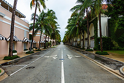 September 2, 2019, Florida, USA: Worth Avenue in Palm Beach is deserted ahead of Hurricane Dorian side-swiping Florida's east coast on Labor Day, Monday, September 2, 2019. (Credit Image: © Joe Forzano/The Palm Beach Post via ZUMA Wire)
