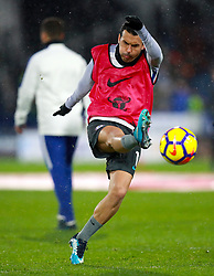 Chelsea's Pedro warming up ahead of the Premier League match at the John Smith's Stadium, Huddersfield.