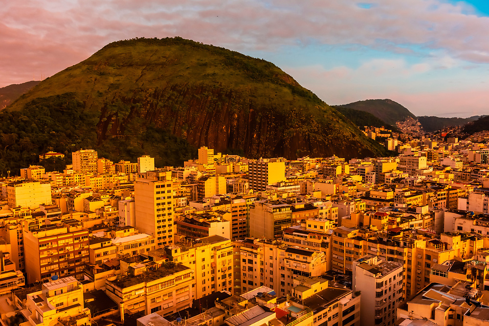 Buildings are packed in tightly in the Copacabana section of Rio de Janeiro, Brazil.