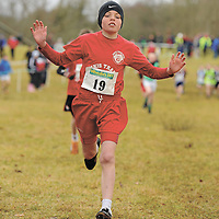 21 February 2010; Jamie Roche, Clare, crosses the line to win the U11 event at the Woodieís DIY Juvenile ëBí Cross Country. Juvenile Athletes, Woodieís DIY Juvenile ëBí Cross Country. Lough Key Forest Park, Boyle, Co. Roscommon. Picture credit: Pat Murphy / SPORTSFILE *** NO REPRODUCTION FEE ***