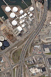 "Pearl Harbor Memorial Pearl Harbor Memorial ""Q"" Bridge, West Bound Approaches just east of Bridge. I95 near Woodward Avenue Interchange Aerial Photograph, view West including Waterfront Street, old Stiles Street ramp, Getty Terminal & Tank Farms."