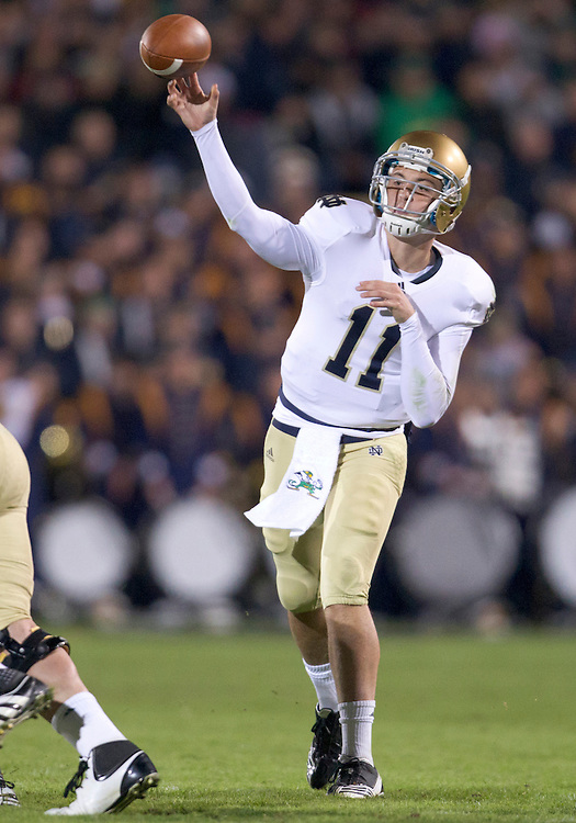 October 01, 2011:  Notre Dame quarterback Tommy Rees (#11) thrws pass during NCAA Football game action between the Notre Dame Fighting Irish and the Purdue Boilermakers at Ross-Ade Stadium in West Lafayette, Indiana.  Notre Dame defeated Purdue 38-10.