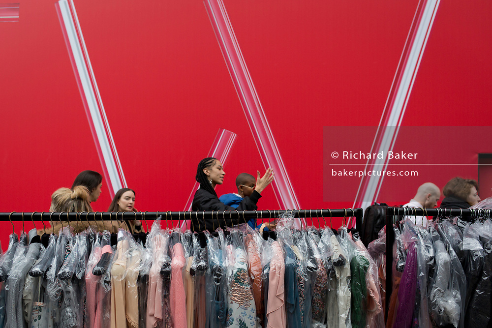 Preparations before the next catwalk show at the BFC Show Space in the Strand, during 2019 London Fashion Week 2019, 18th February 2019, in London, England.