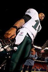 Philadelphia Eagles wide receiver DeSean Jackson #10 after the NFL game between the Philadelphia Eagles and the New York Giants on December 13th 2009. The Eagles won 45-38 at Giants Stadium in East Rutherford, New Jersey. (Photo By Brian Garfinkel)