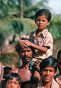 Indian man with his son, India