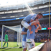 NEW YORK, NEW YORK - May 29:  Frederic Brillant #13 of New York City FC celebrates with David Villa #7 of New York City FC after heading his side first goal past goalkeeper Joseph Bendik #1 of Orlando City FC during the New York City FC Vs Orlando City, MSL regular season football match at Yankee Stadium, The Bronx, May 29, 2016 in New York City. (Photo by Tim Clayton/Corbis via Getty Images)