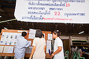 03 JULY 2011 - BANGKOK, THAILAND:  Voters in check the voter lists to see where they vote in Bangkok, Thailand, Sunday July 3. More than 47,000,000 Thais were registered to vote in Sunday's election, which had turned into a referendum on the current government, led, by the Thai Democrats and the oppositionPheu Thai party. Pheu Thai is the latest political incarnation of ousted Thai Prime Minister Thaksin Shinawatra. PT is led by his youngest sister, Yingluck Shinawatra, who is the party's candidate for Prime Minister. Exit polling by three Thai polling firms showed Pheu Thai winning a landslide election.    PHOTO BY JACK KURTZ