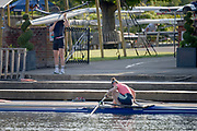 Henley-On-Thames, Berkshire, UK.,  3rd August 2020 Athletes, Crews boating from Leander Club for training,  [Mandatory Credit © Peter Spurrier/Intersport Images],  Single Scull, , Training during, the  coronavirus (COVID-19), pandemic,