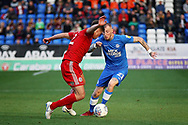 Peterborough United midfielder Marcus Maddison (21) takes on Accrington Stanley defender Callum Johnson (2) during the EFL Sky Bet League 1 match between Peterborough United and Accrington Stanley at London Road, Peterborough, England on 20 October 2018.