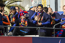 April 30, 2018 - Barcelona, Catalonia, Spain - Andres Iniesta and Luis Suarez during the FC Barcelona Victory Parade at the streets of Barcelona on 30 of April of 2018 in Barcelona. (Credit Image: © Xavier Bonilla/NurPhoto via ZUMA Press)