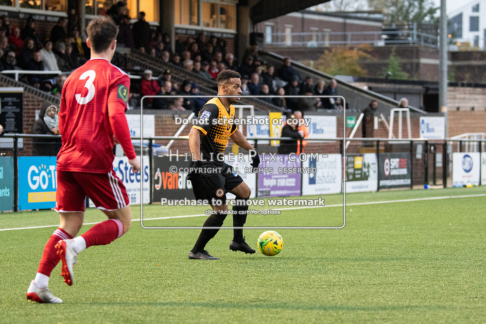 BROMLEY, UK - NOVEMBER 02: Jerome Federico, of Cray Wanderers FC, looks for an opening during the BetVictor Isthmian Premier League match between Cray Wanderers and Worthing at Hayes Lane on November 2, 2019 in Bromley, UK. <br /> (Photo: Jon Hilliger)