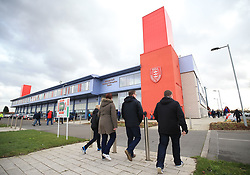 Supporters make their way to the KC Lightstream Stadium before the First Utility Super League match between Hull KR and Castleford Tigers.