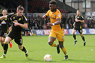 Newport County's Jennison Myrie-Williams (c) brings the ball forward against Oliver Turton of Crewe Alexander. Skybet EFL league two match, Newport county v Crewe Alexandra at Rodney Parade in Newport, South Wales on Saturday 20th August 2016.<br /> pic by David Richards, Andrew Orchard sports photography.