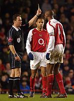 Photo: Daniel Hambury, Digitalsport<br /> Arsenal V Crystal Palace.<br /> FA Barclays Premiership.<br /> 14/02/2005.<br /> Arsenal's Patrick Vieira is booked by refereeRob Styles.