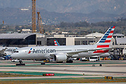 An American Airlines Boeing Dreamliner 787-8 taxis toward the hangar at Los Angeles International Airport (LAX) on Friday, February 28, 2020 in Los Angeles. (Brandon Sloter/Image of Sport)