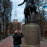 Paul Revere Mall and monument with Old North church behind, Boston