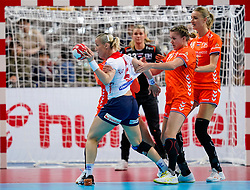 06-12-2019 JAP: Norway - Netherlands, Kumamoto<br /> Last match groep A at 24th IHF Women's Handball World Championship. / The Dutch handball players won in an exciting game of fear gegner Norway and wrote in the last group match at the World Handball  World Championship history (30-28). / Merel Freriks #19 of Netherlands, Kelly Dulfer #18 of Netherlands