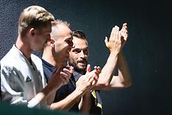 From left to right standing Žan Karničnik, Matic Maruško and Žiga Koues during reception of NS Mura players after winning Slovenian cup, on June 25, 2020 in Fazanerija, Murska Sobota, Slovenia. Photo by Blaž Weindorfer / Sportida