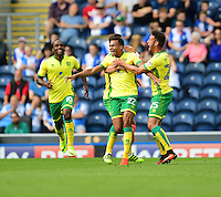 Norwich City's Jacob Murphy, centre, celebrates scoring the opening goal <br /> <br /> Photographer Chris Vaughan/CameraSport<br /> <br /> Football - The EFL Sky Bet Championship - Blackburn Rovers v Norwich City - Saturday 6th August 2016 - Ewood Park - Blackburn<br /> <br /> World Copyright © 2016 CameraSport. All rights reserved. 43 Linden Ave. Countesthorpe. Leicester. England. LE8 5PG - Tel: +44 (0) 116 277 4147 - admin@camerasport.com - www.camerasport.com