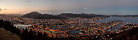 Dawn panoramic view of Bergen from Mount Fløyen. Composite of nine images taken with a Leica X2 camera (ISO 400, 24 mm, f/2.8, 1/60 sec). Raw images processed with Capture One Pro and the composite created using AutoPano Giga Pro.