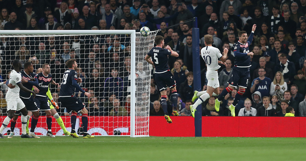 Tottenham Hotspur's Harry Kane scores his side's first goal  <br /> <br /> Photographer Rob Newell/CameraSport<br /> <br /> UEFA Champions League Group B - Tottenham Hotspur v Crvena Zvezda - Tuesday 22nd October 2019  - Tottenham Hotspur Stadium - London<br />  <br /> World Copyright © 2018 CameraSport. All rights reserved. 43 Linden Ave. Countesthorpe. Leicester. England. LE8 5PG - Tel: +44 (0) 116 277 4147 - admin@camerasport.com - www.camerasport.com