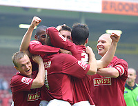 Photo: Dave Linney.<br />Walsall v Macclesfield Town. Coca Cola League 2. 16/09/2006.Walsall's Scott Dann(Centre) celebrates after making it 2-0 to Walsall.