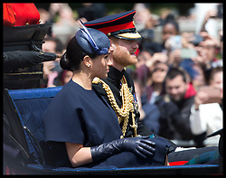 June 8, 2019 - London, London, United Kingdom - Image licensed to i-Images Picture Agency. 08/06/2019. London, United Kingdom. Prince Harry and Meghan Markle, The Duke and Duchess of Sussex  at Trooping the Colour in London. (Credit Image: © Stephen Lock/i-Images via ZUMA Press)