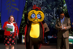 Stock photo of a man and woman with  a bee mascot making a presentation at the International Festival in downtown Houston Texas