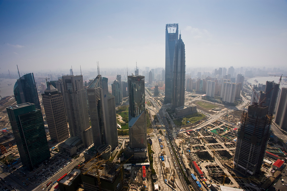Shanghai skyline and construction sites seen from the Oriental Pearl Television Tower, China