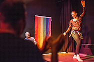 Omar performs a dance during the Mr Gay Syria contest, held in Istanbul in February 2016. Omar finished third place