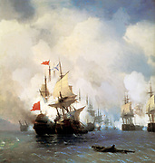 Battle in the Chios Channel, naval battle, summer 1770. Engagement of Turkish flagship 'Real Mustafa' and Russian ship 'Svyatoy Evstafiy'.  Russian victory gaining control of Black Sea. Ivan Aivazovsky (1817-1900) Russian painter, 1848.