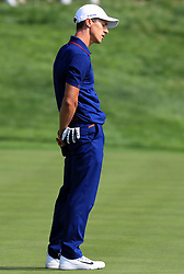 Team Europe's Thorbjorn Olesen reacts on the sixteenth green during the Fourballs match on day one of the Ryder Cup at Le Golf National, Saint-Quentin-en-Yvelines, Paris.