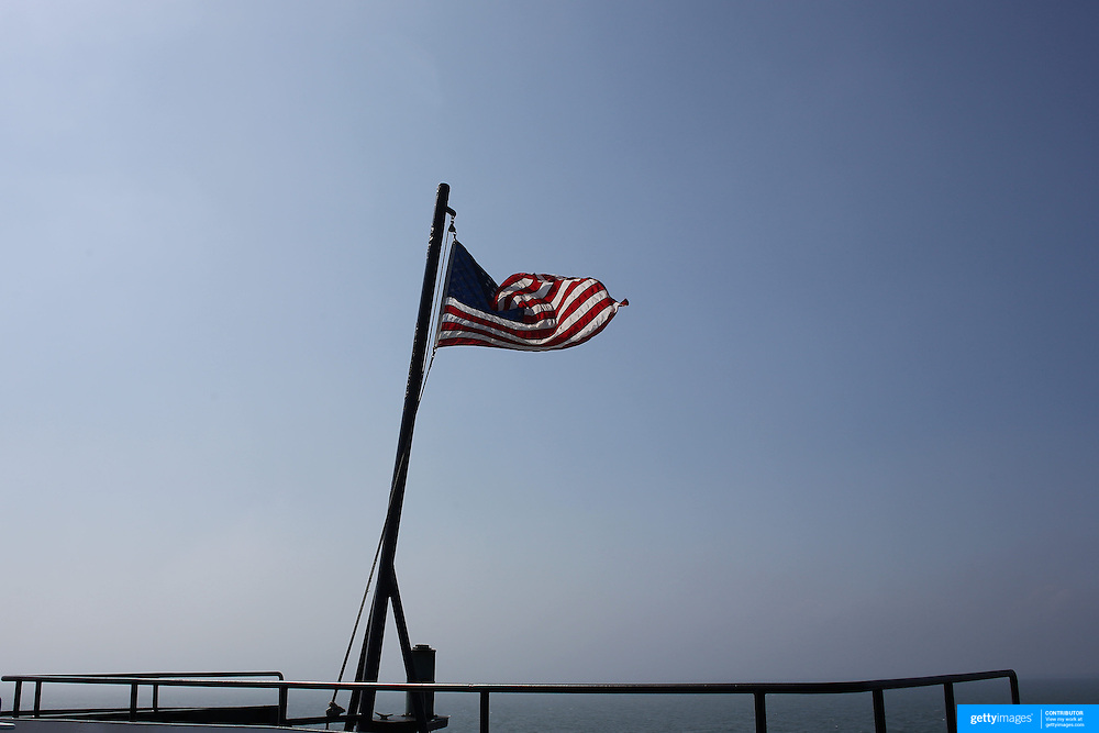 The US Maritime flag flies on the Ferry traveling between  Hyannis and Nantucket Island, Massachusetts, USA. Photo Tim Clayton