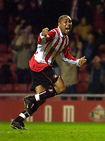Photo. Jed Wee.<br /> Sunderland v Wigan Athletic, Nationwide League Division One, Stadium of Light, Sunderland. 02/12/03.<br /> Sunderland's Jeff Whitley celebrates after Sunderland claw back on level terms.