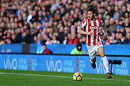 Ramadan Sobhi of Stoke City in action. Premier league match, Stoke City v Leicester City at the Bet365 Stadium in Stoke on Trent, Staffs on Saturday 4th November 2017.<br /> pic by Chris Stading, Andrew Orchard sports photography.