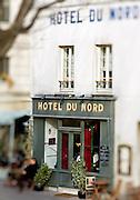 Hôtel du Nord, Paris, France.<br /> Hotel du Nord's frontage, Paris-Ile-de-France region, France.