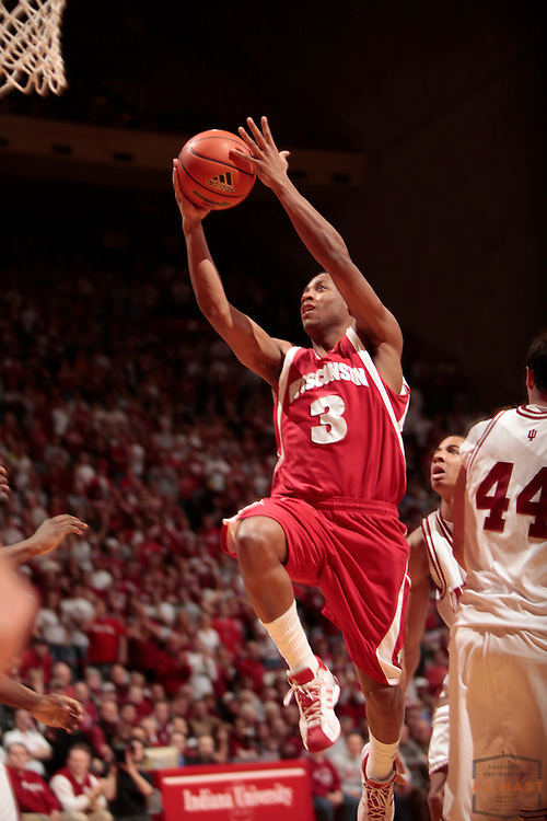 19 February 2009: Wisconsin guard Trevon Hughes (3) as the Indiana Hoosiers played the Wisconsin Badgers in a college basketball game in Bloomington, Ind.