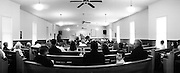 GLASGOW, KY – SEPTEMBER, 2009: A Sunday morning congregation listens to a sermon from Reverand Harlow at South Fork Baptist Church.
