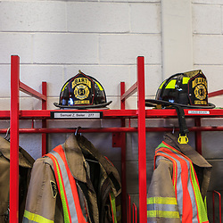 Firefighters gear ready for the next emergency call at the Bart Volunteer Fire Company in Lancaster County, Pennsylvania.