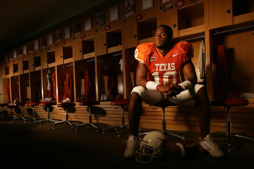 Vince Young<br /> Quarterback<br /> University of Texas Longhorns<br /> Austin, TX<br /> July 23, 2005<br /> photograph by Darren Carroll