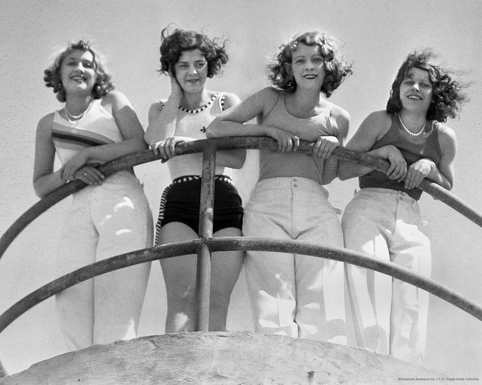 Girls Leaning on a Railing, Bondi Beach, Sydney, Australia, 1930