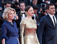Director Nicole Garcia, actress Marion Cotillard and actor Alex Brendemühl at the gala screening for the film Mal De Pierres (From the Land of the Moon) at the 69th Cannes Film Festival, Sunday 15th May 2016, Cannes, France. Photography: Doreen Kennedy