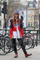 Blogger Sabrina Carder arrives at the Ryan Lo Autumn / Winter 2017 London Fashion Week show at 180 Strand, London on Saturday February 18, 2017
